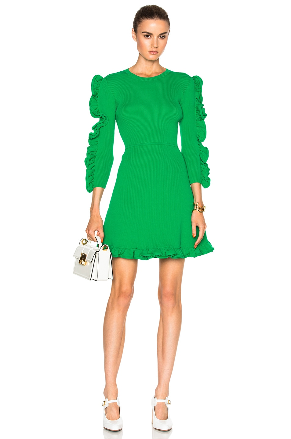 Image 1 of Victoria Victoria Beckham Fitted Ruffle Dress in Absinthe