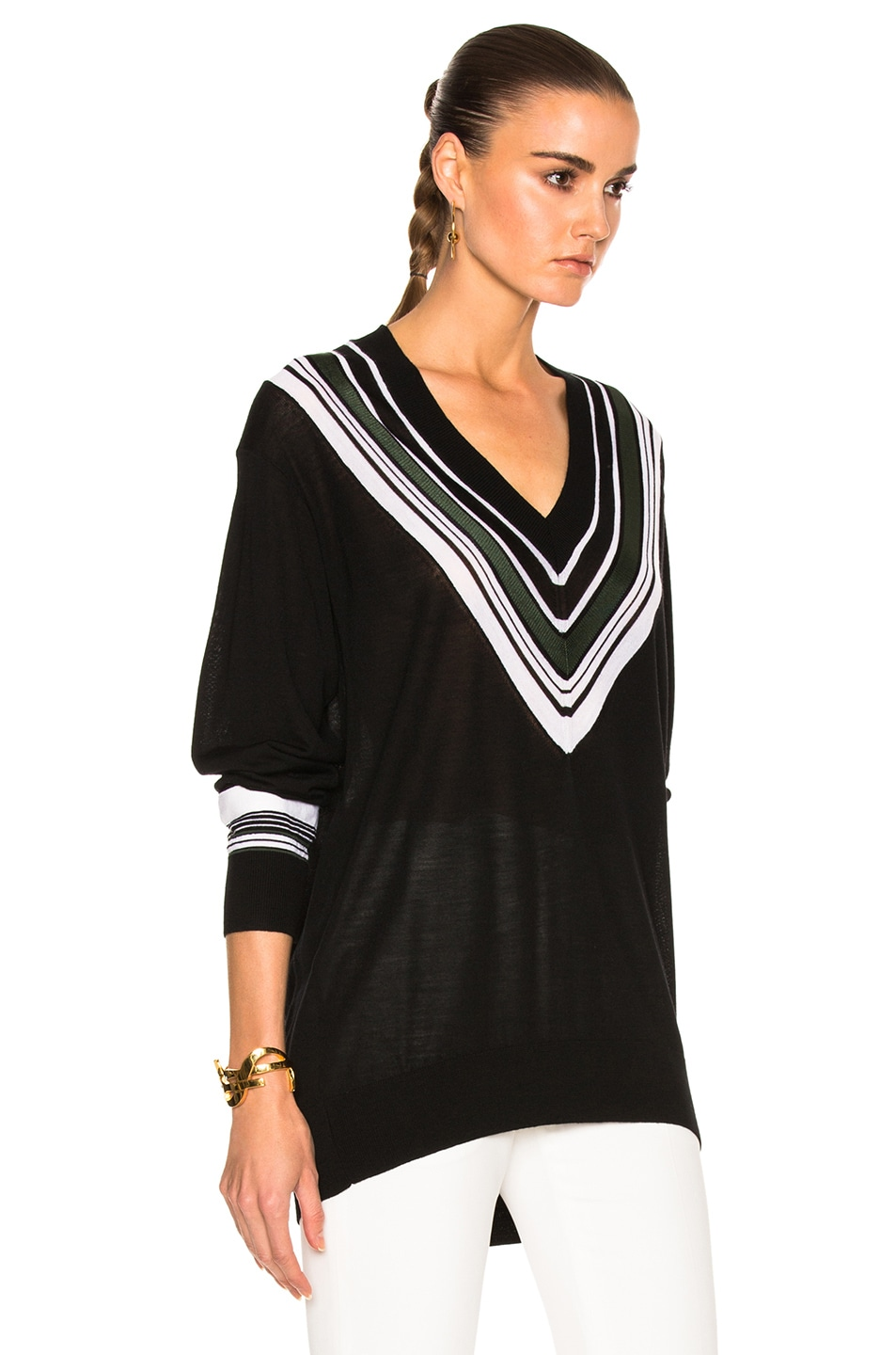Victoria Victoria Beckham Oversize V Neck Sweater in Black & Multi ...