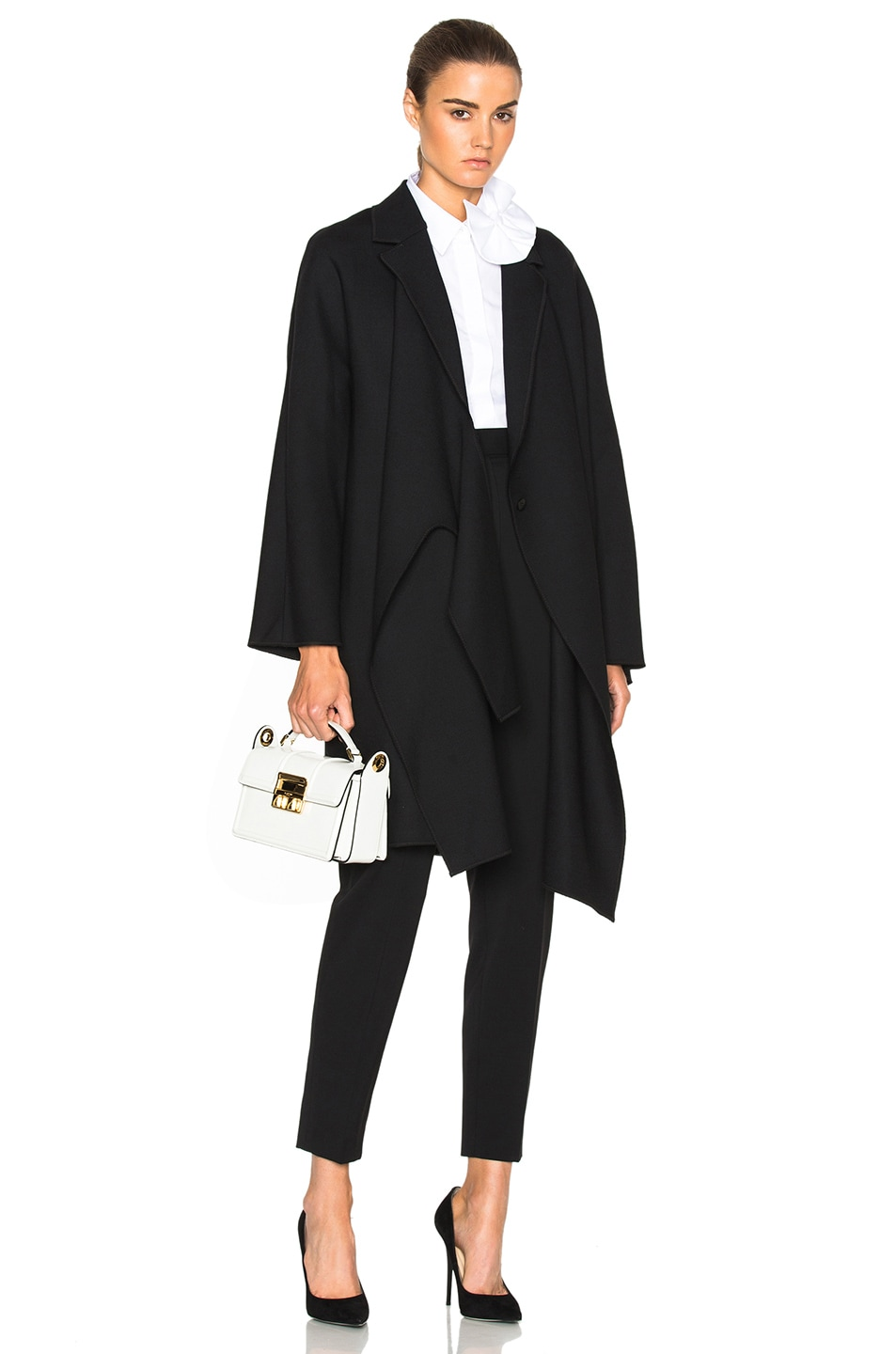 Image 1 of Victoria Victoria Beckham Tie Front Coat in Black