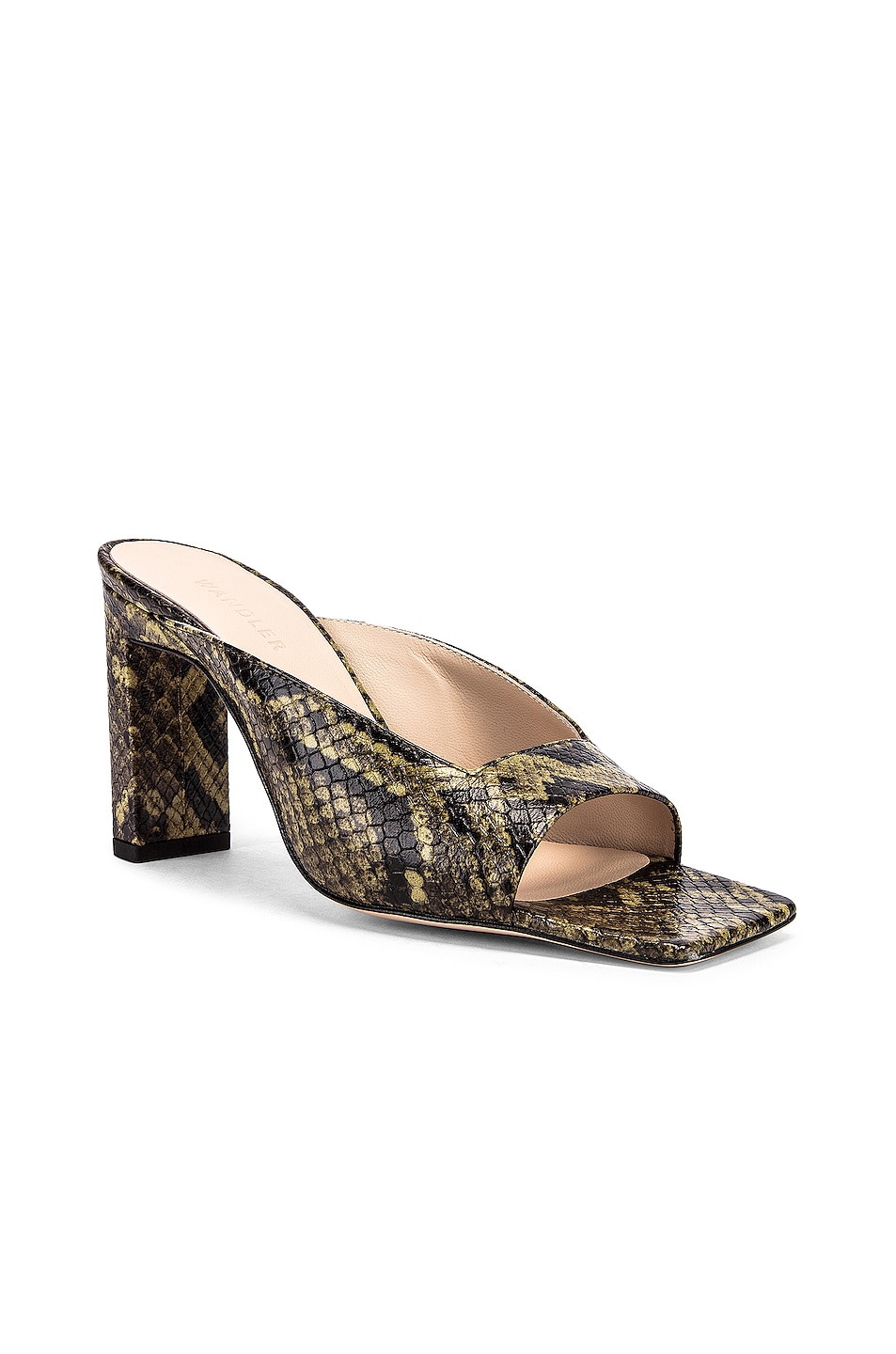 Image 2 of Wandler Isa Python Sandals in Olive