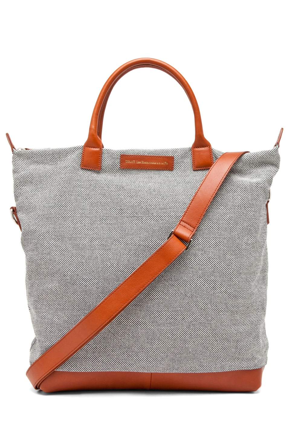 Image 1 of Want Les Essentiels De La Vie O'Hare Shopper Tote in Checker Canvas/Cognac