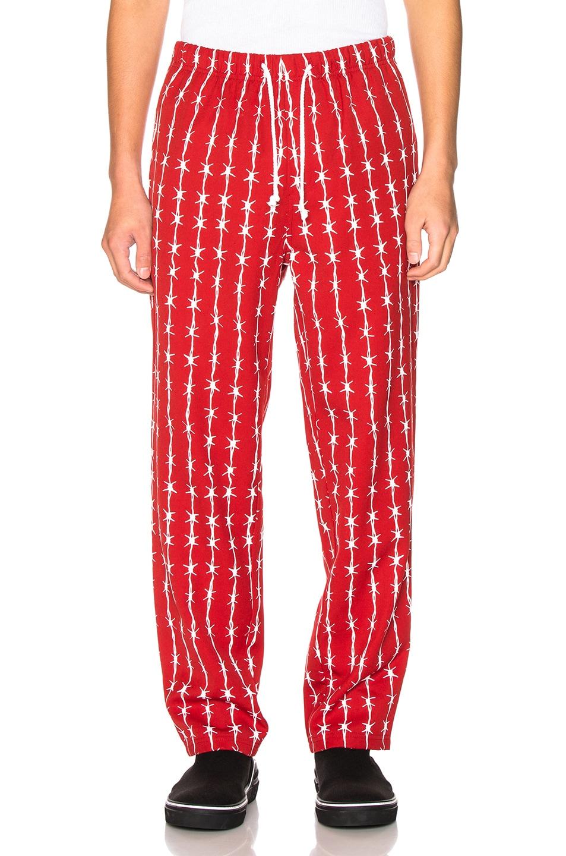 Image 1 of Warren Lotas Barbed Wire Pinstripe Gabardine Pajama Trouser in Bordeaux