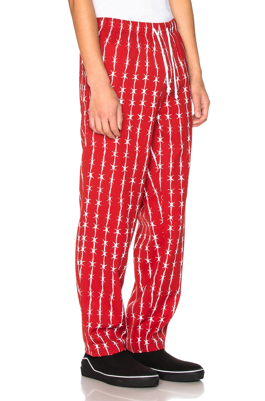Image 2 of Warren Lotas Barbed Wire Pinstripe Gabardine Pajama Trouser in Bordeaux