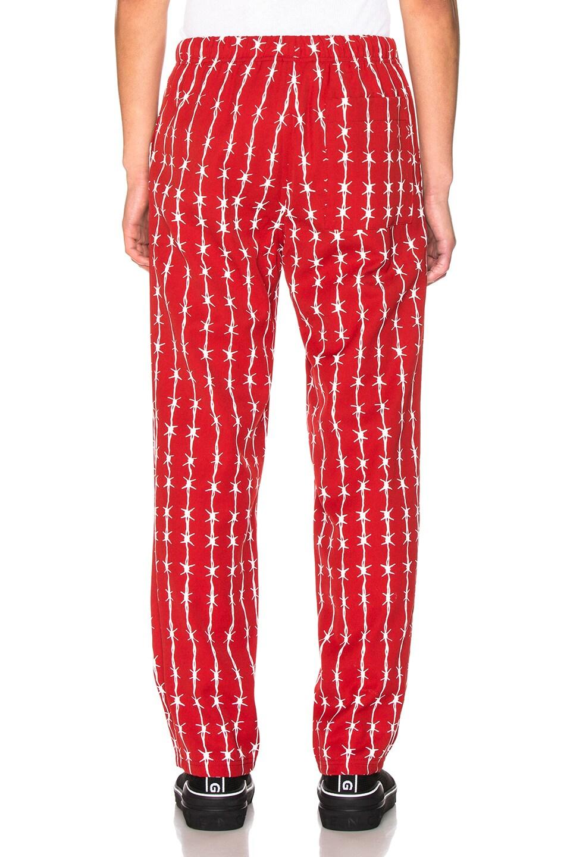 Image 3 of Warren Lotas Barbed Wire Pinstripe Gabardine Pajama Trouser in Bordeaux