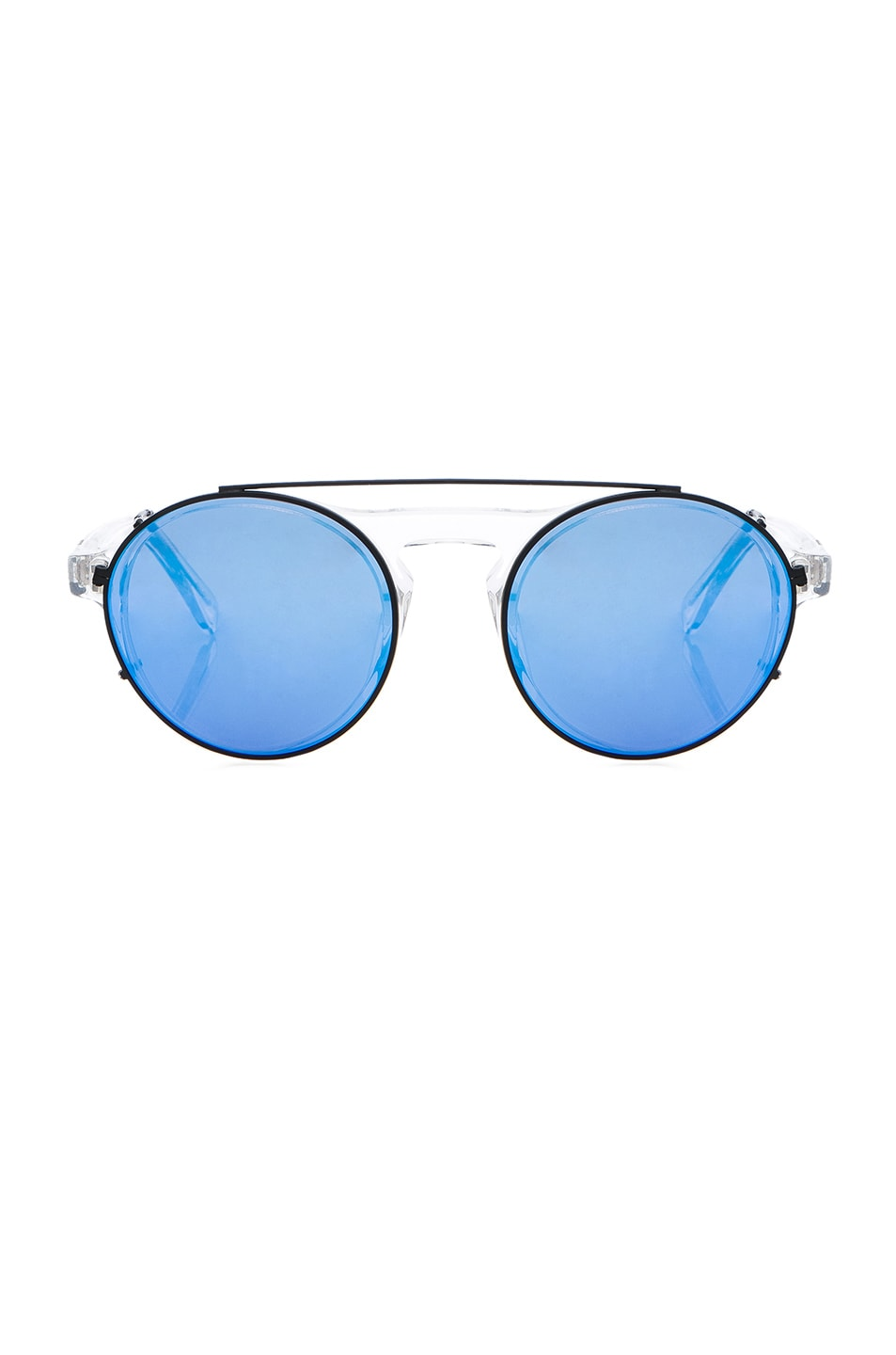 Image 1 of WESTWARD LEANING Dyad 11 Sunglasses with Interchangeable Clips in Crystal & Deep Blue