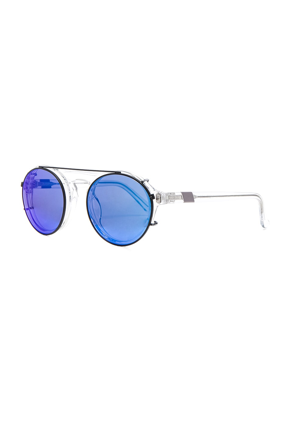 Image 2 of WESTWARD LEANING Dyad 11 Sunglasses with Interchangeable Clips in Crystal & Deep Blue