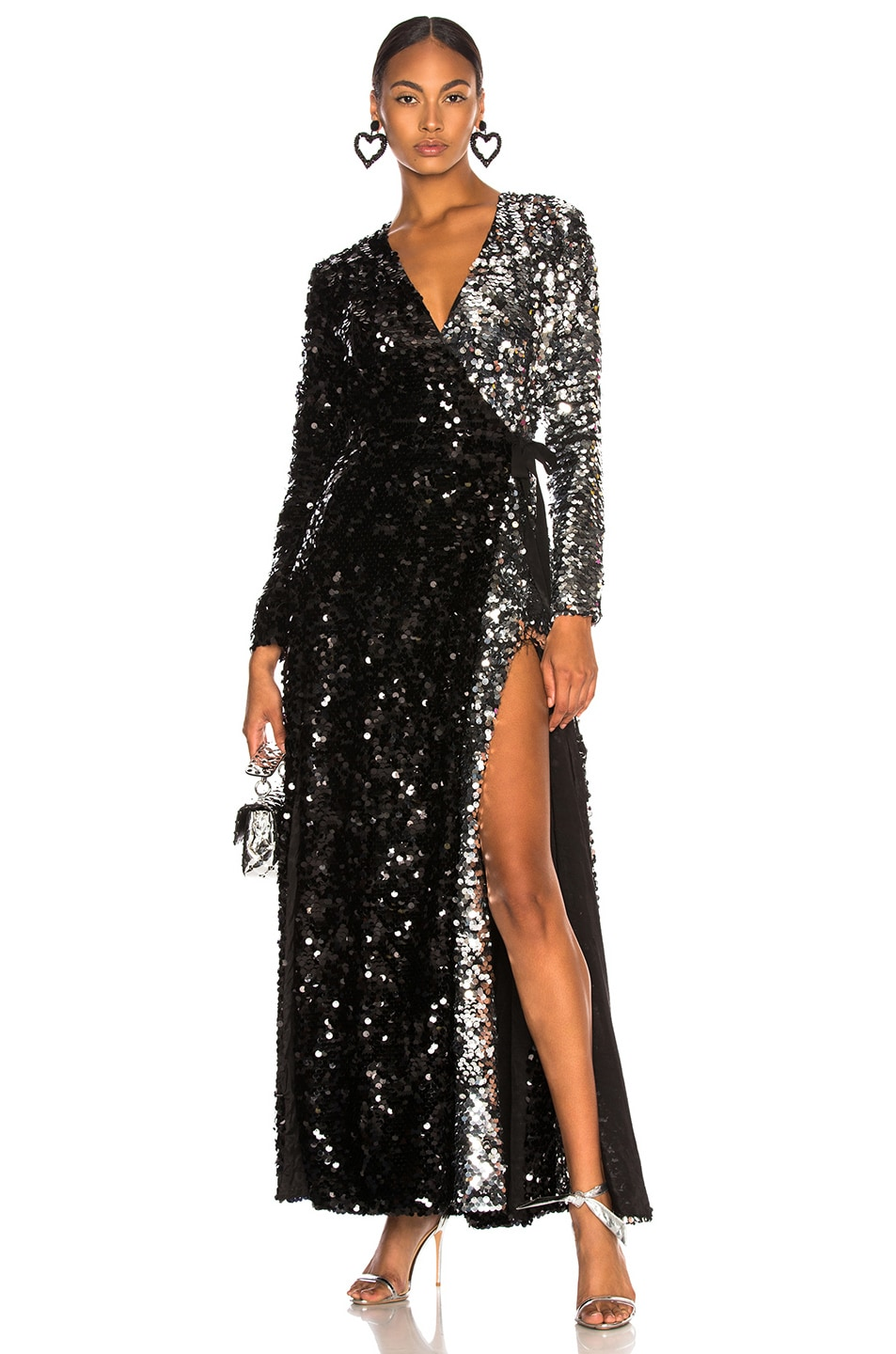 Image 1 of we are LEONE Contrast Sequin Wrap Dress in Black Onyx & Silver