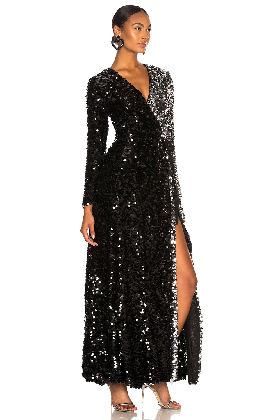 Image 2 of we are LEONE Contrast Sequin Wrap Dress in Black Onyx & Silver