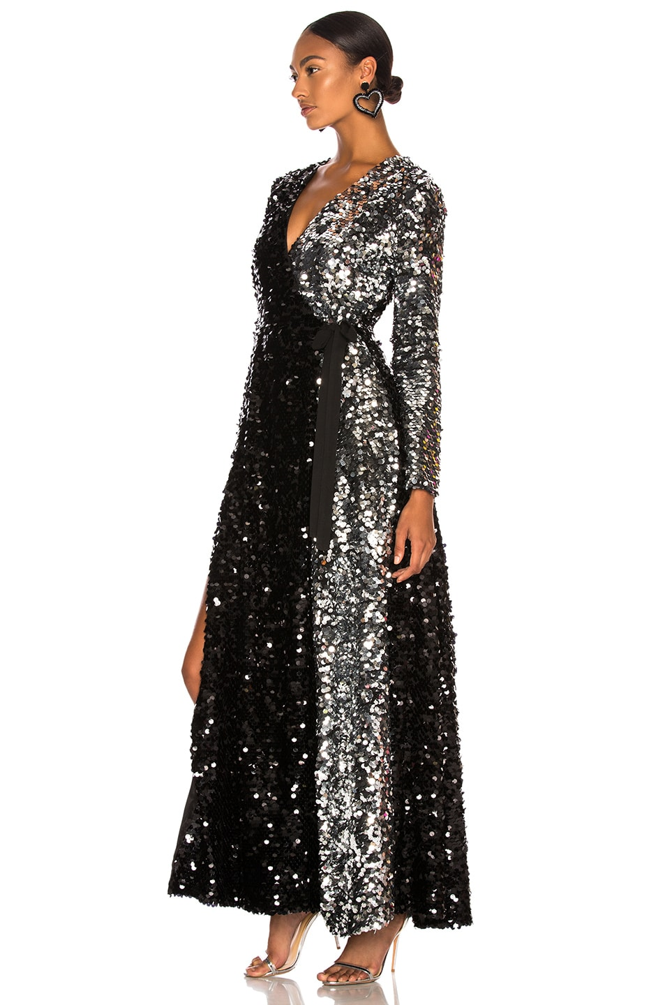 Image 3 of we are LEONE Contrast Sequin Wrap Dress in Black Onyx & Silver
