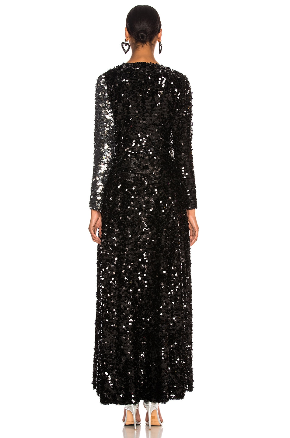 Image 4 of we are LEONE Contrast Sequin Wrap Dress in Black Onyx & Silver
