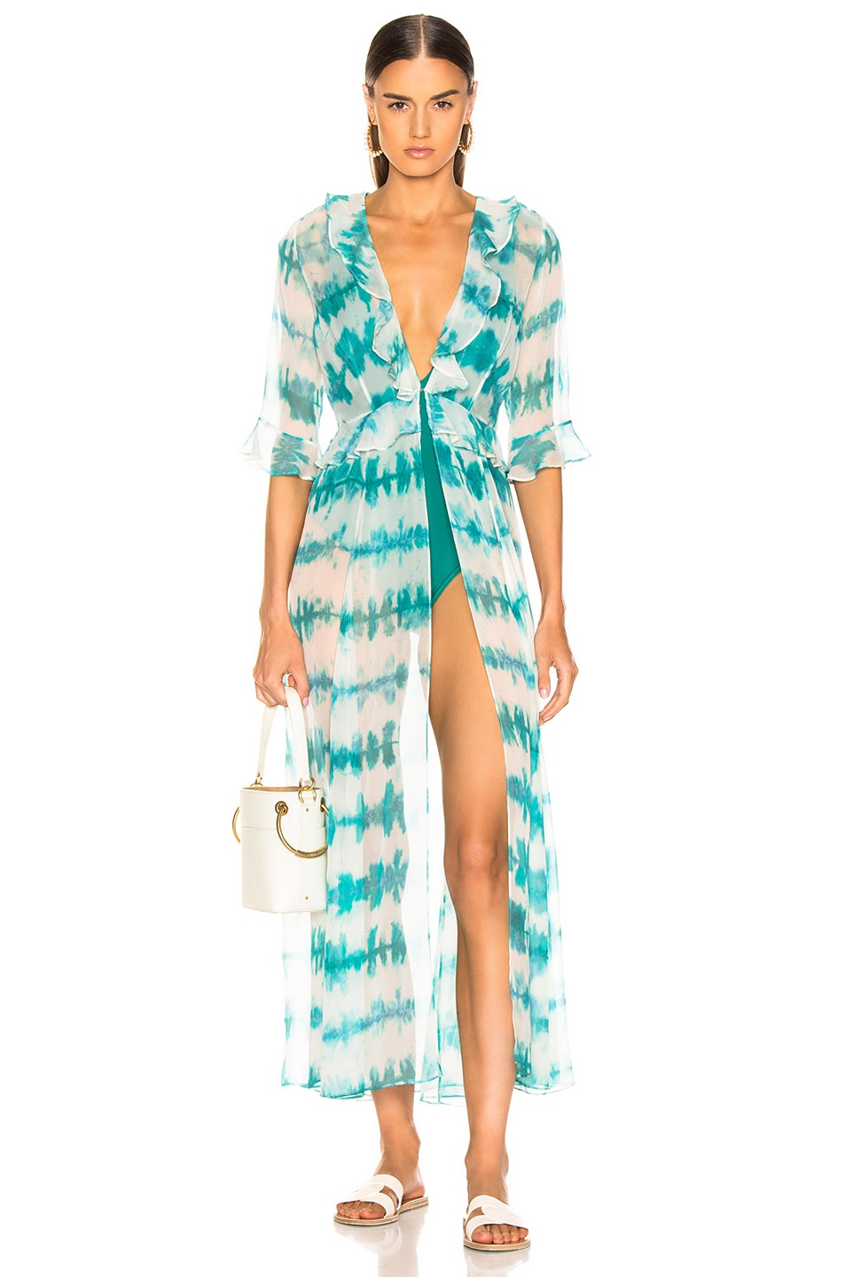 Image 1 of we are LEONE Ruby Ruffle Cardigan in Blue Tie Dye