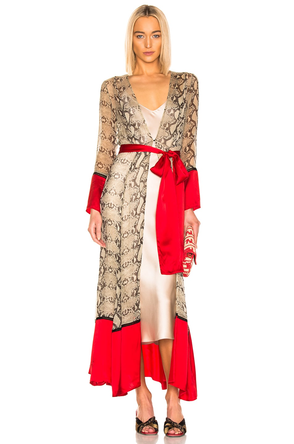 we are LEONE Contrast Maxi Cardigan in Python & Red | FWRD