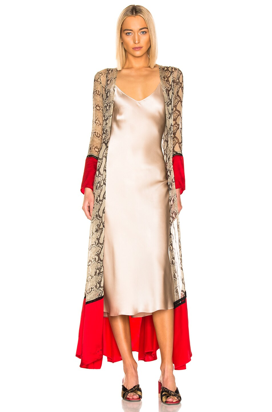 Image 2 of we are LEONE Contrast Maxi Cardigan in Python & Red