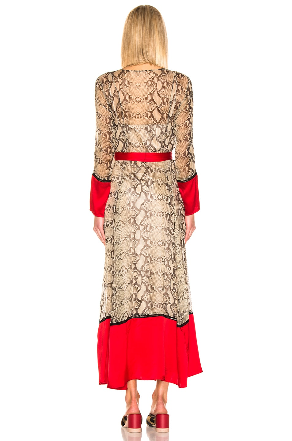 Image 4 of we are LEONE Contrast Maxi Cardigan in Python & Red