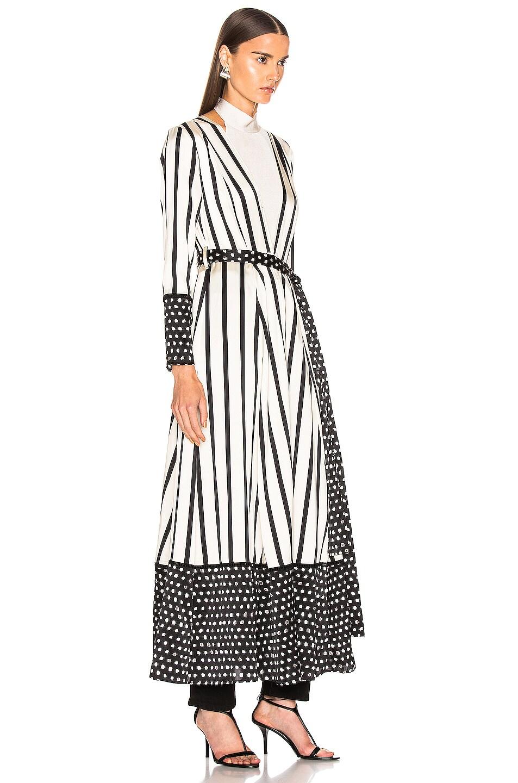 Image 2 of we are LEONE Contrast Maxi Cardigan in Black & Cream Stripe