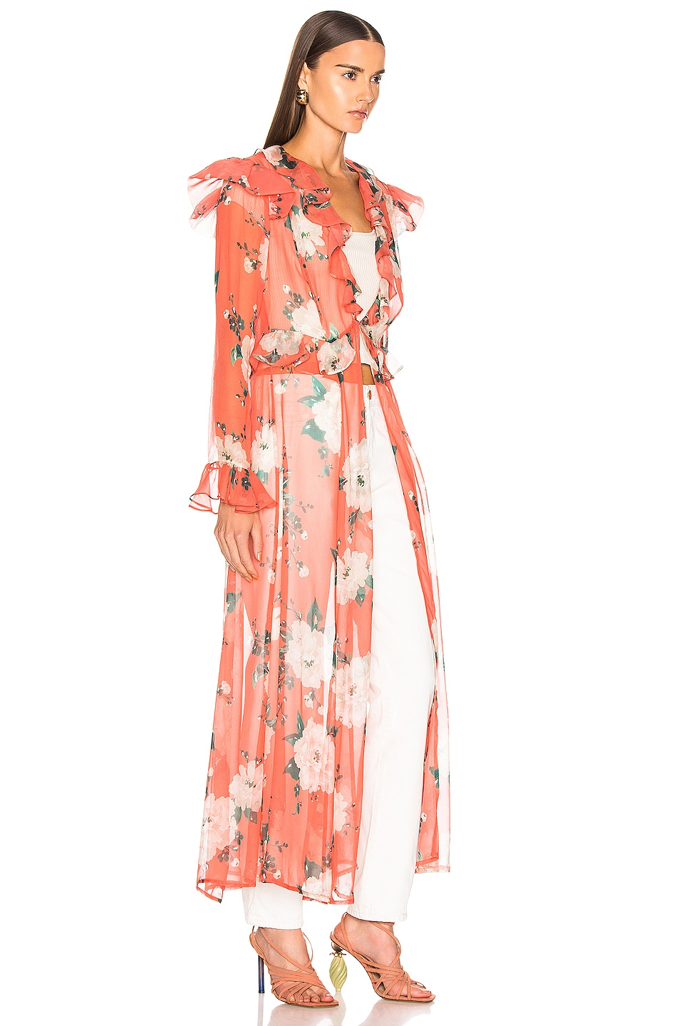Image 2 of we are LEONE Marlowe Maxi Cardigan in Coral Romantic Floral
