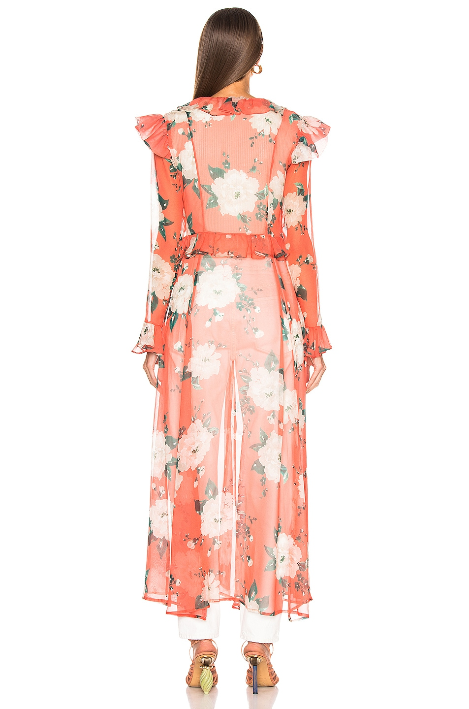 Image 3 of we are LEONE Marlowe Maxi Cardigan in Coral Romantic Floral