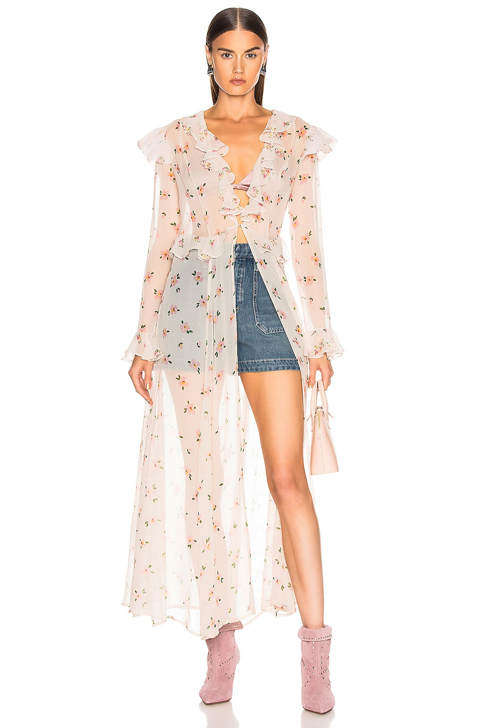 Image 1 of we are LEONE Marlowe Maxi Cardigan in Cream Santa Barbara Floral
