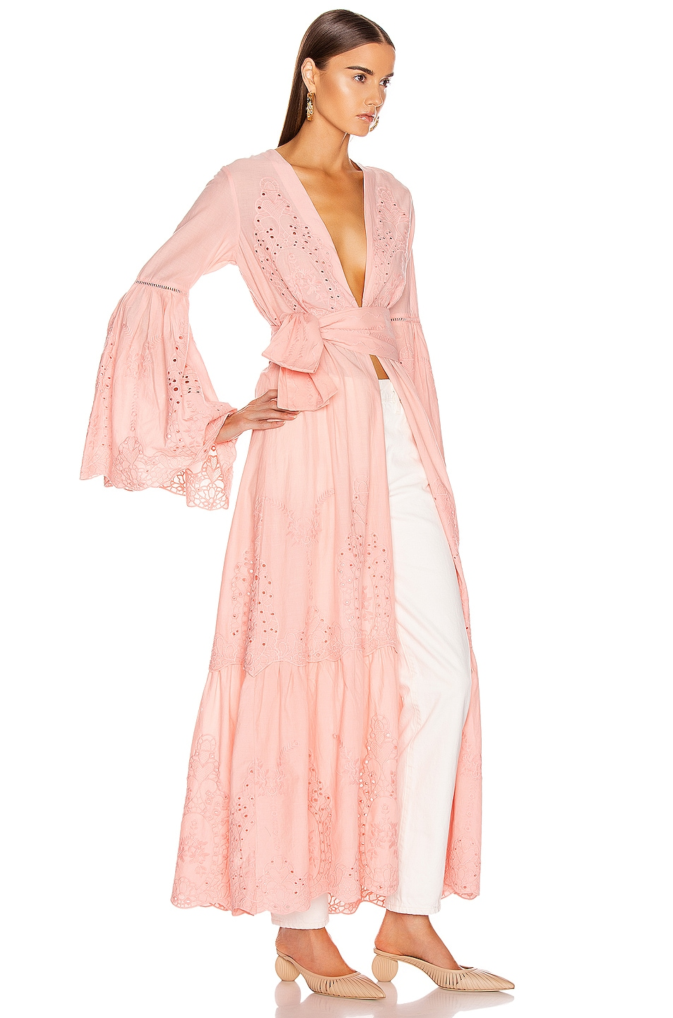 Image 2 of we are LEONE Embroidered Maxi Cardigan in Desert Pink