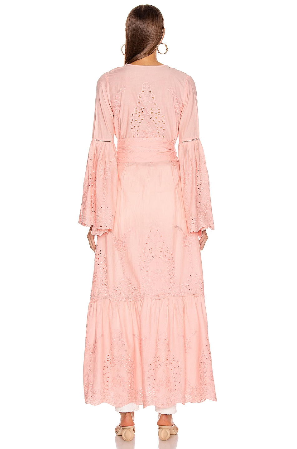 Image 3 of we are LEONE Embroidered Maxi Cardigan in Desert Pink