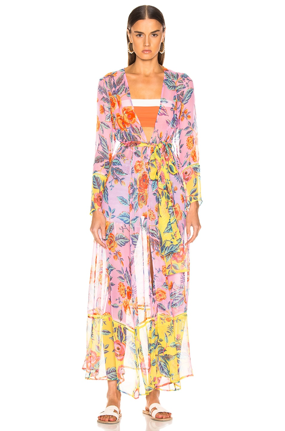 Image 2 of we are LEONE Contrast Maxi Cardigan in Pink Rose & Yellow Rose Floral