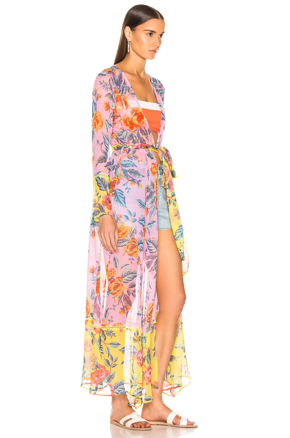 Image 3 of we are LEONE Contrast Maxi Cardigan in Pink Rose & Yellow Rose Floral