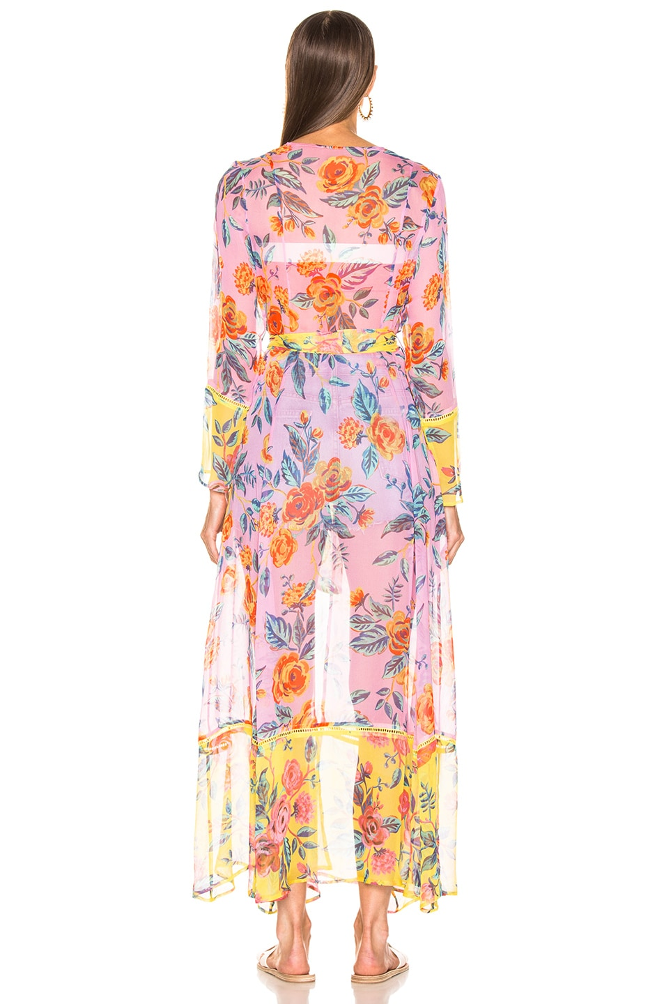 Image 4 of we are LEONE Contrast Maxi Cardigan in Pink Rose & Yellow Rose Floral