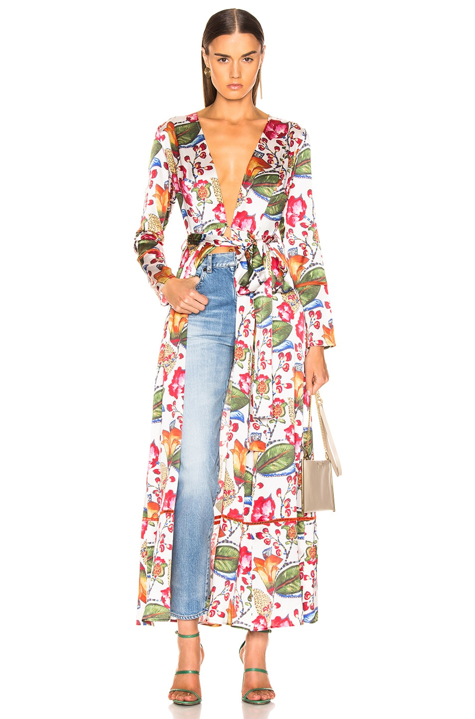 Image 1 of we are LEONE Contrast Maxi Cardigan in Jungle Print