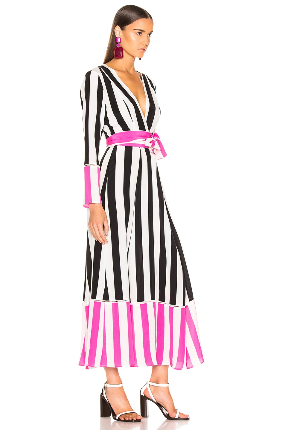 Image 2 of we are LEONE Contrast Maxi Cardigan in Black, White & Pink Stripe