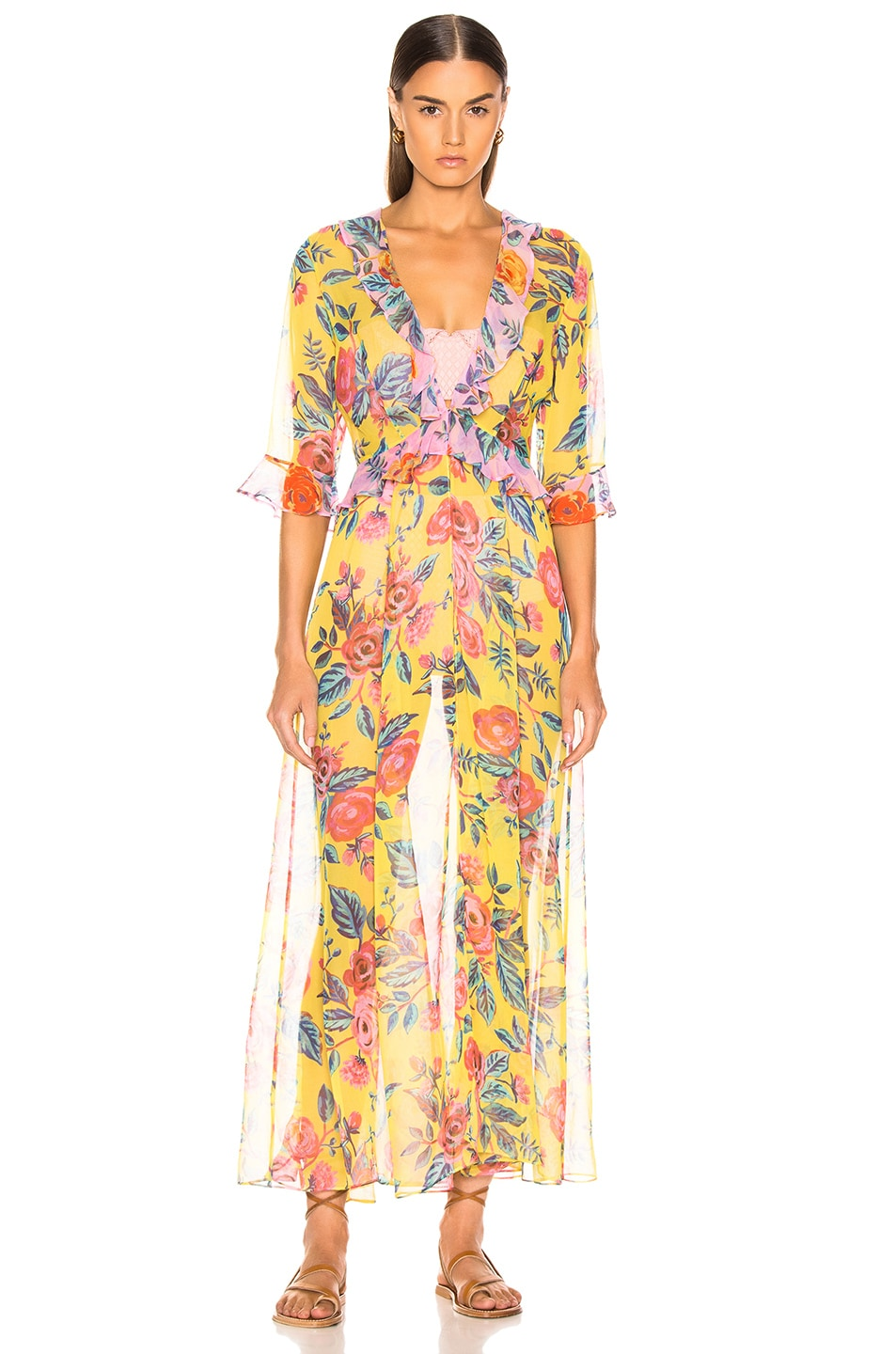 Image 2 of we are LEONE Ruby Ruffle Cardigan in Yellow & Pink Rose Floral