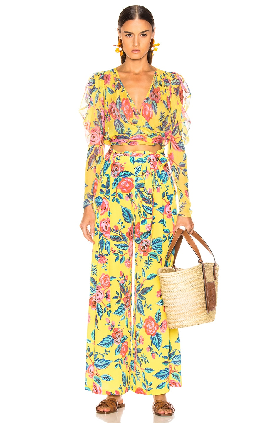 Image 4 of we are LEONE Luke Trousers in Yellow Rose Floral