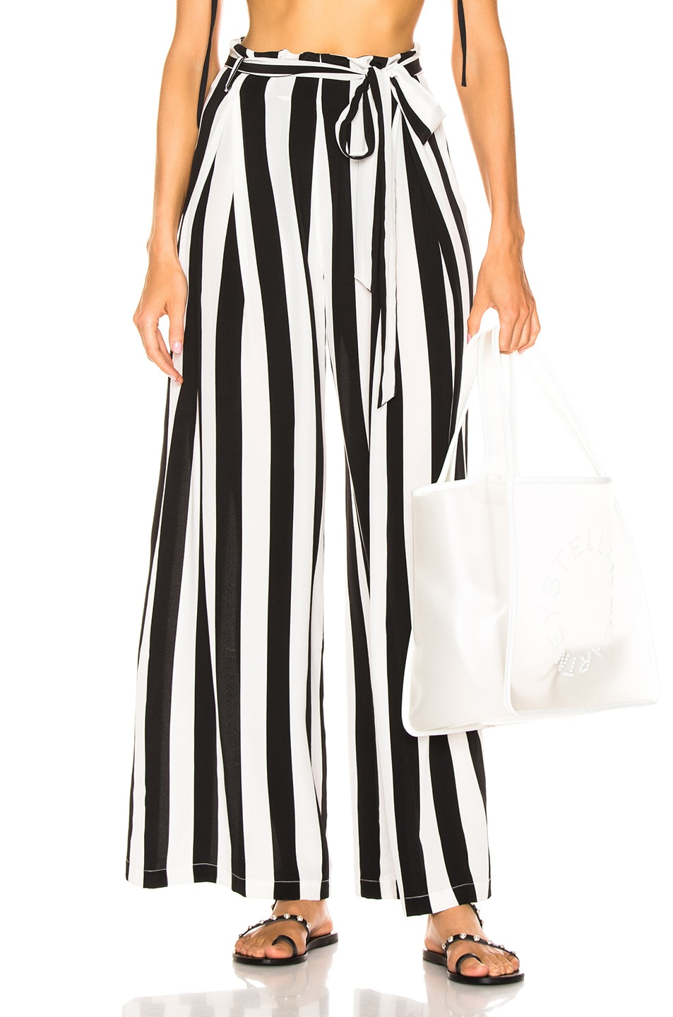 Image 1 of we are LEONE Luke Trousers in Black & White Stripe