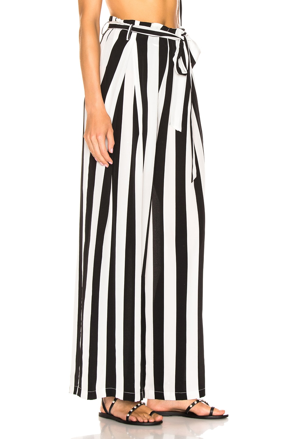 Image 2 of we are LEONE Luke Trousers in Black & White Stripe