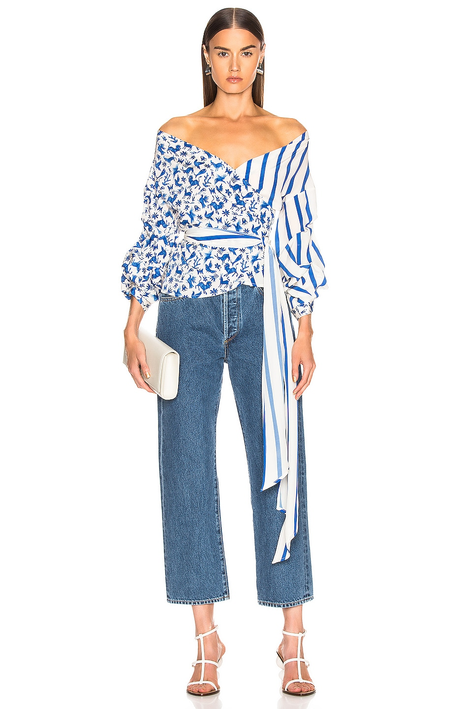 Image 1 of we are LEONE Stella Wrap Top in Blue Mexican Animals with Stripes