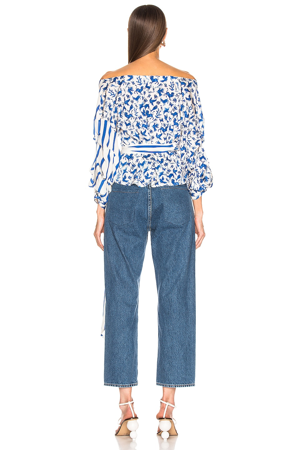 Image 3 of we are LEONE Stella Wrap Top in Blue Mexican Animals with Stripes