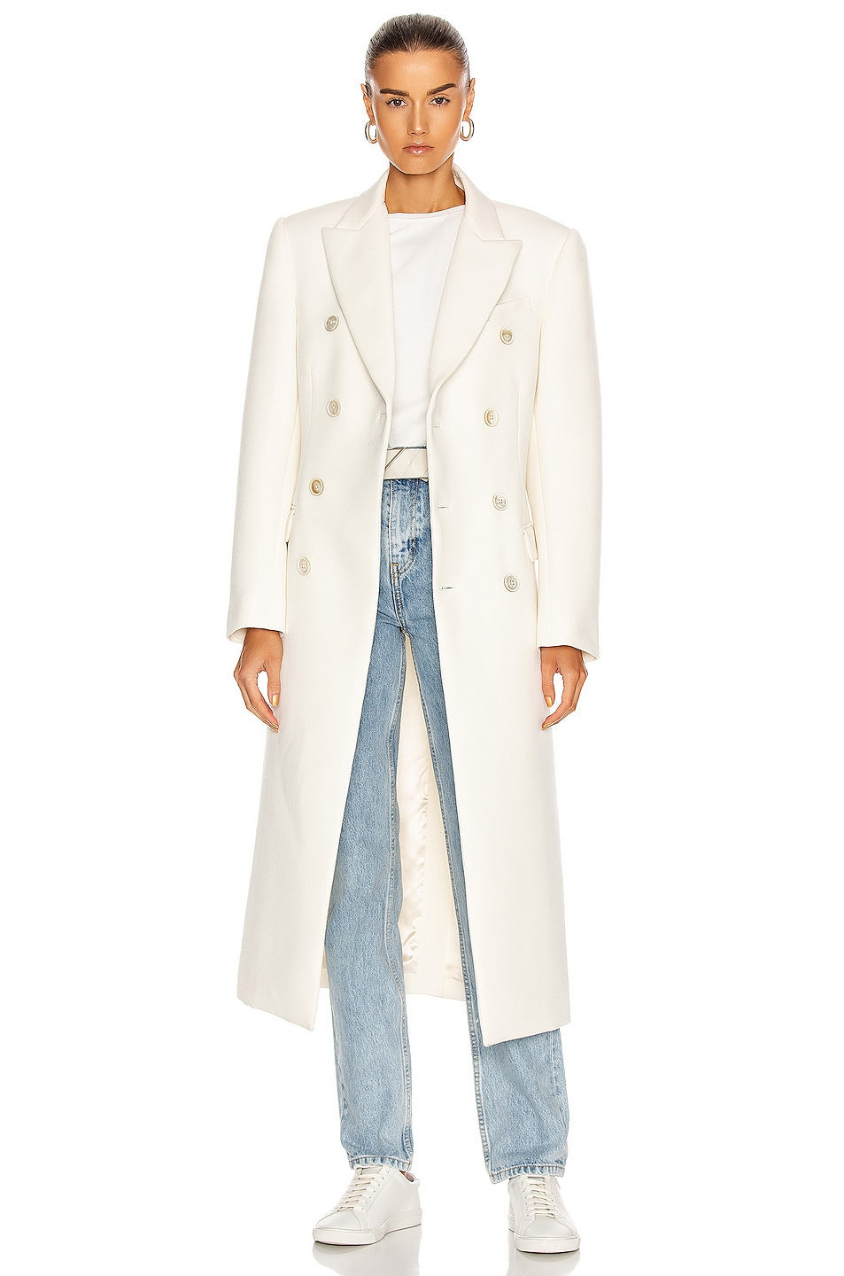 Image 1 of WARDROBE.NYC Double Breasted Coat in Off White