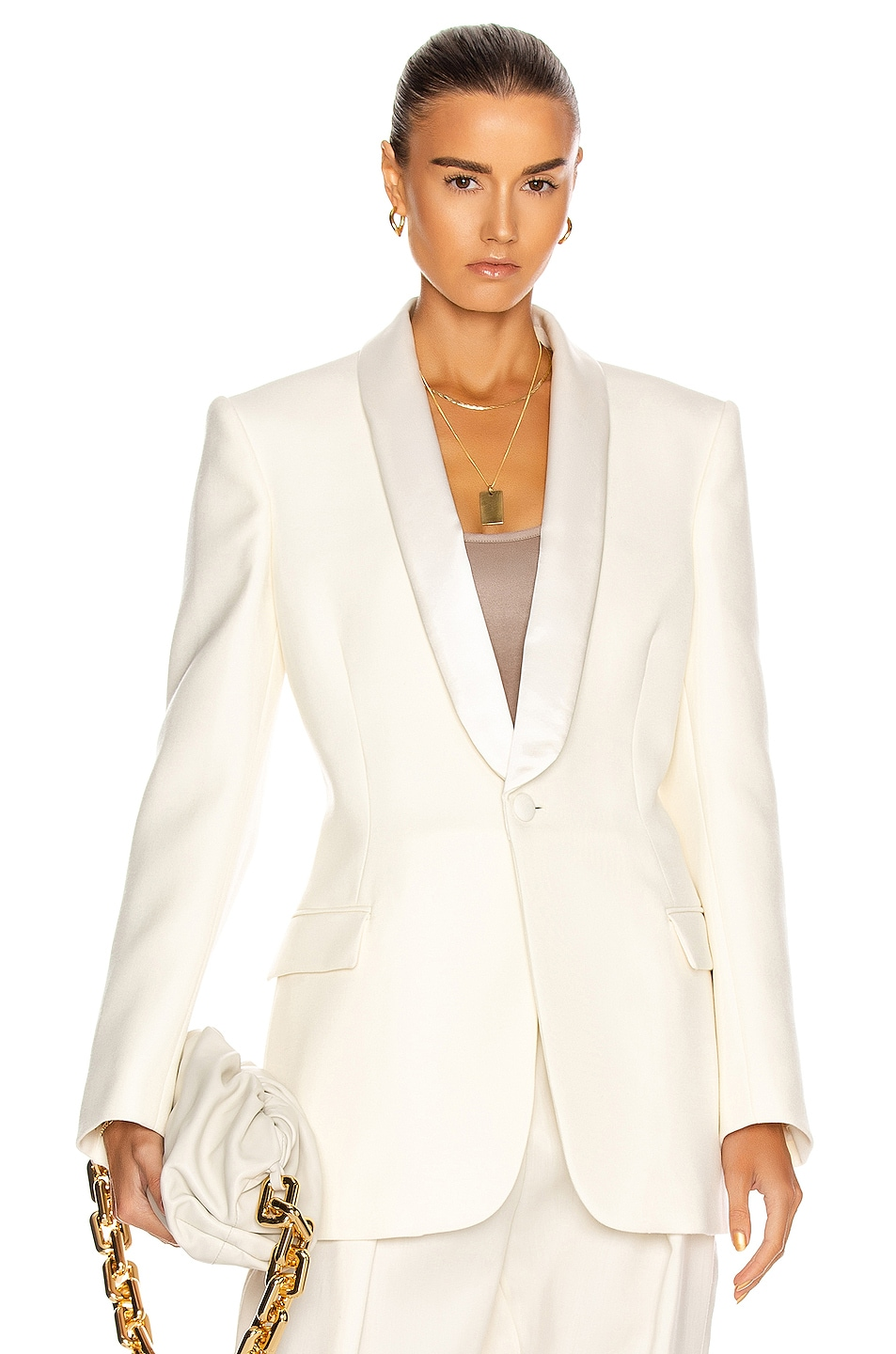 Image 1 of WARDROBE.NYC Tuxedo Blazer in White