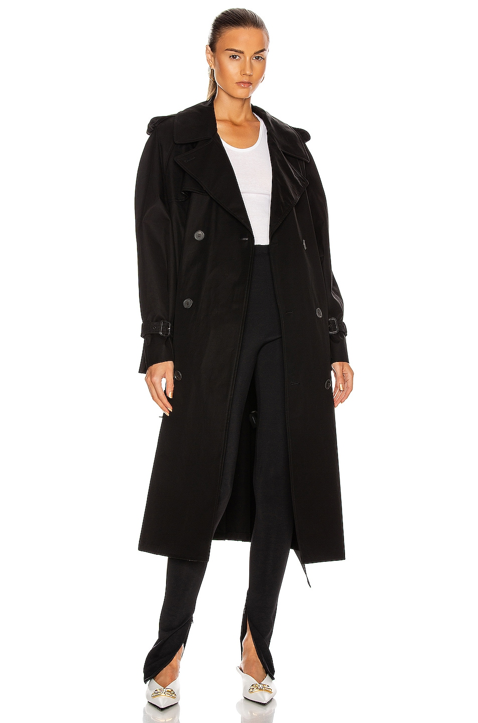 Image 1 of WARDROBE.NYC Trench Coat in Black