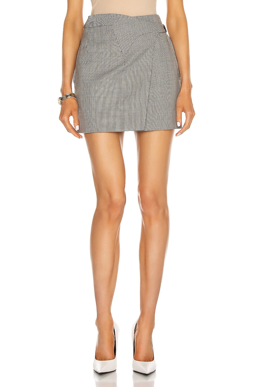 Image 1 of WARDROBE.NYC Wrap Mini Skirt in Black & White