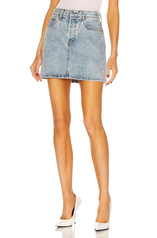 Image 1 of WARDROBE.NYC Denim Mini Skirt in Blue