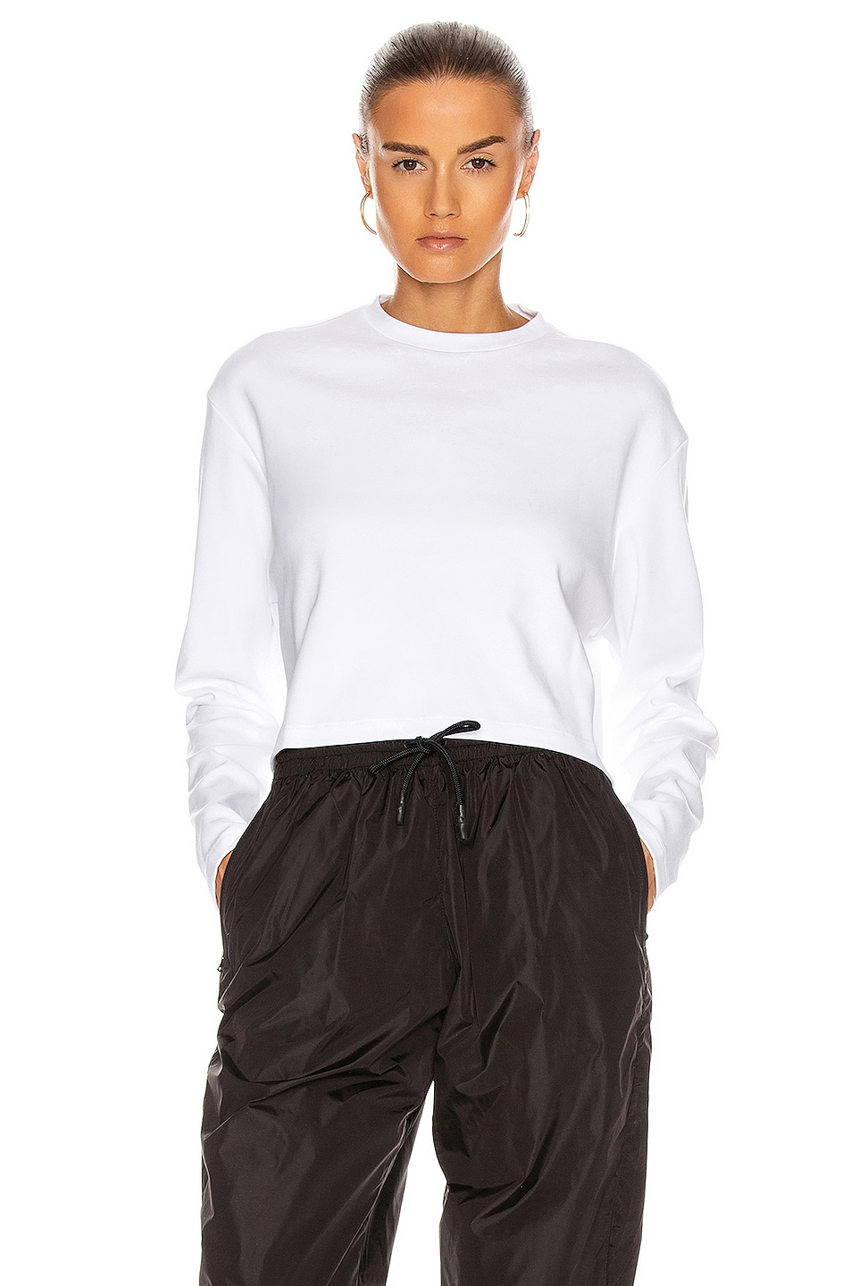 Image 1 of WARDROBE.NYC Long Sleeve Crop Top in White