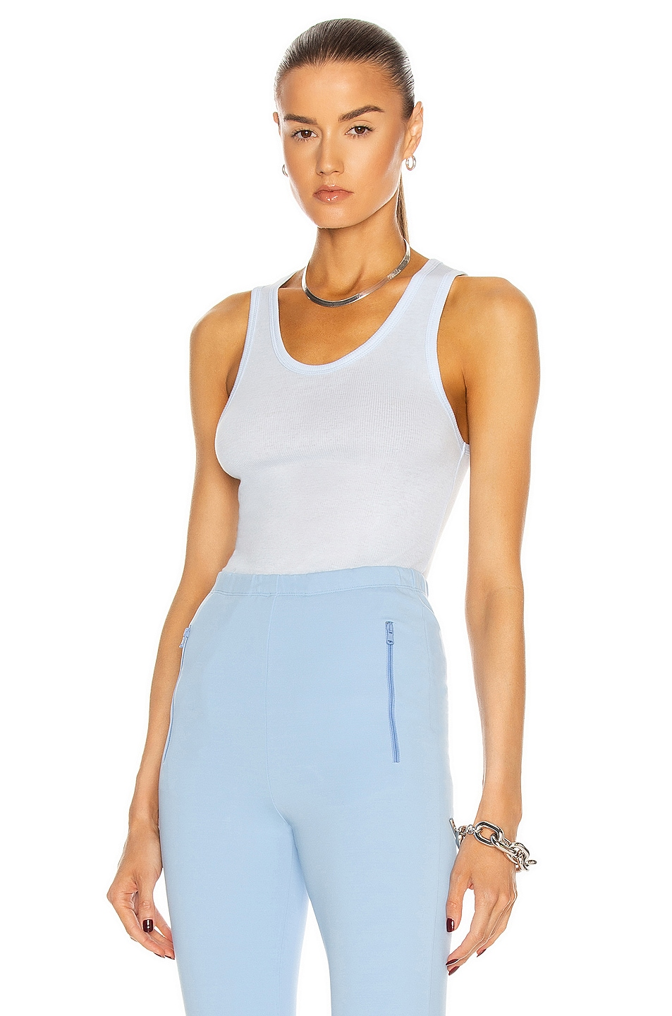 Image 1 of WARDROBE.NYC Ribbed Tank Top in Light Blue