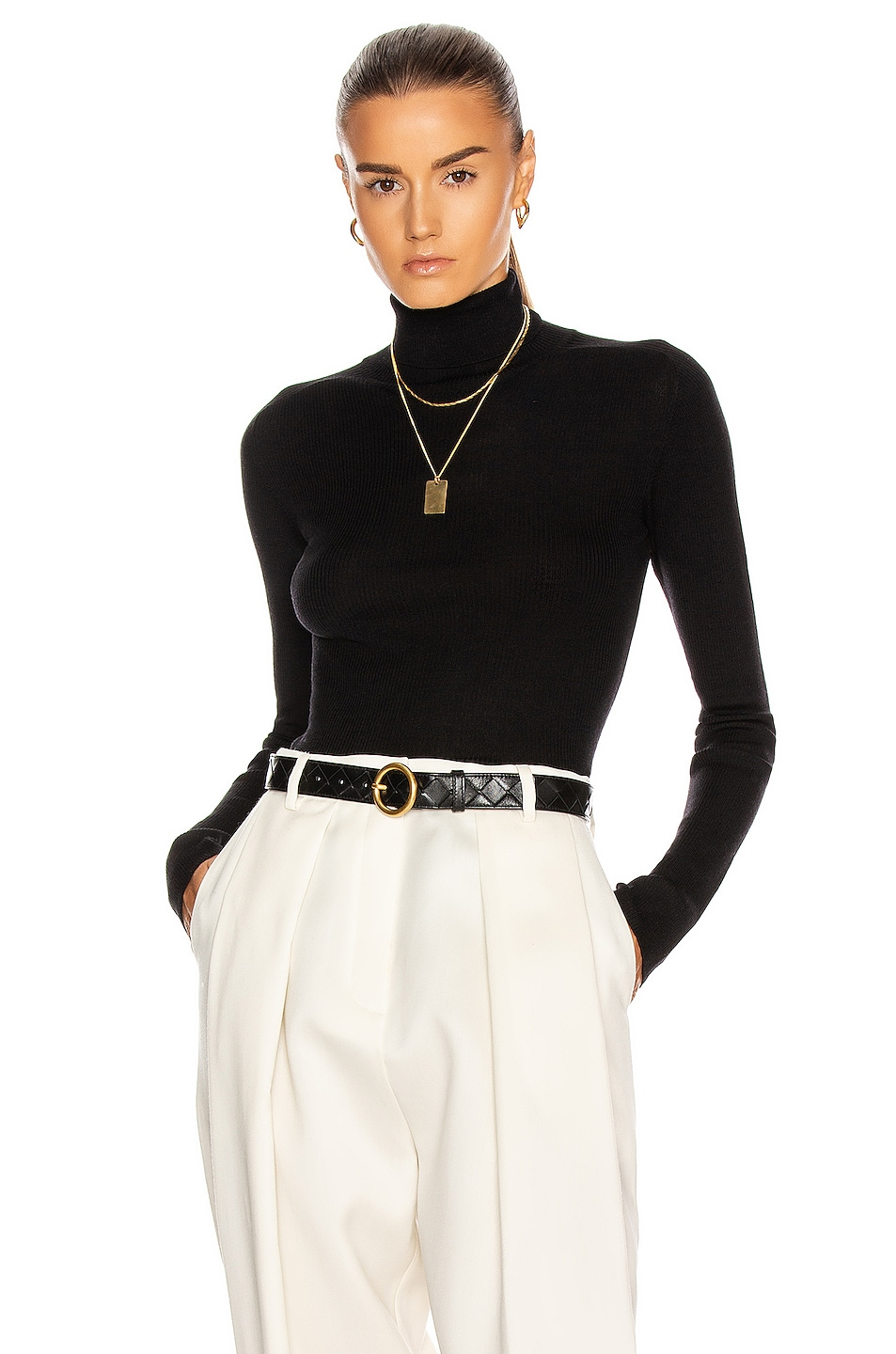 Image 1 of WARDROBE.NYC Rib Turtleneck Top in Black