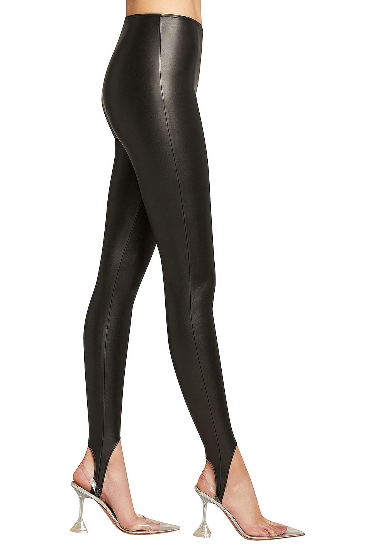 Image 1 of Wolford x Amina Muaddi Vegan Leather Stirrup Legging in Black
