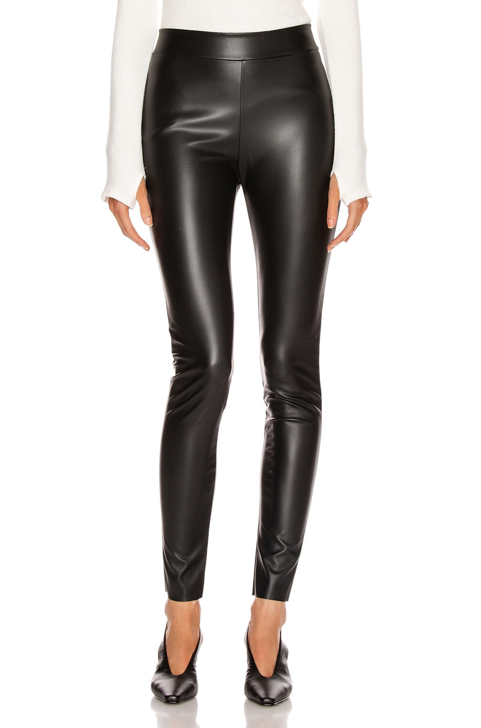 Image 1 of Wolford Estella Faux Leather Back Seam Legging in Black