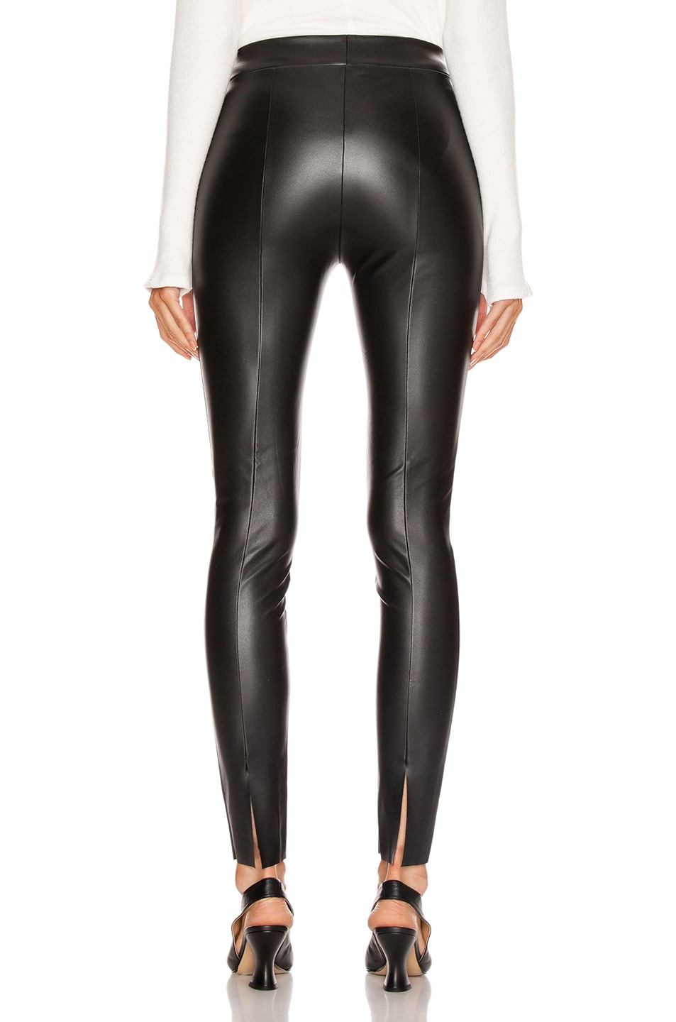 Image 3 of Wolford Estella Faux Leather Back Seam Legging in Black
