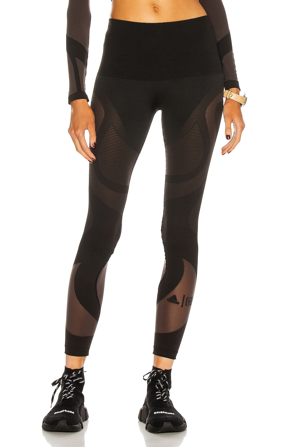 Image 1 of Wolford x Adidas Sheer Motion Legging in Black & Nearly Black