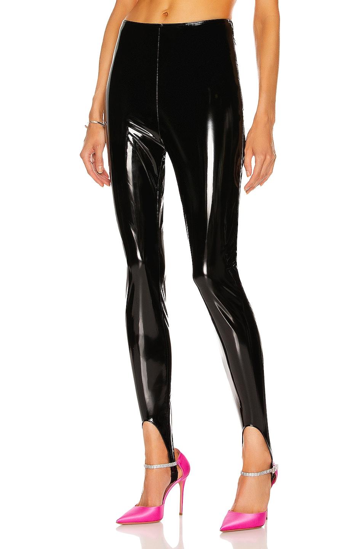 Image 1 of Wolford x Amina Muaddi Latex Stirrup Legging in Black