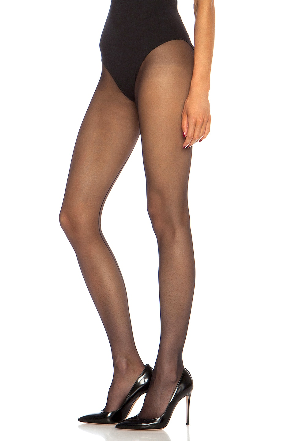 Image 3 of Wolford Individual 10 Back Seam Polyamide-Blend Tights in Black