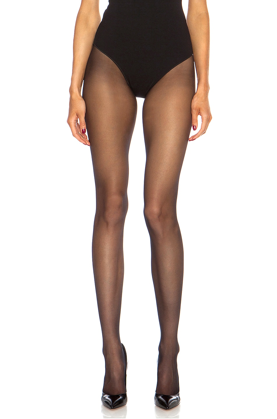 Image 5 of Wolford Individual 10 Back Seam Polyamide-Blend Tights in Black